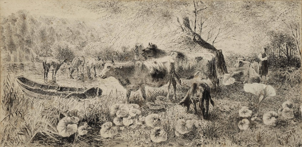 Lot 296 - KARL GERHRTS (1853-1898) A river landscape with cattle and farm hand, signed, pen and ink, 19.5 x