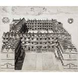 NATHANIEL PARR AFTER WILLIAM WILLIAMS 'Collegium Orielense (Oriel College)', aerial view, double