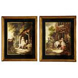 19TH CENTURY ENGLISH SCHOOL Farmyard scenes in the manner of George Morland, a pair, mezzotints in