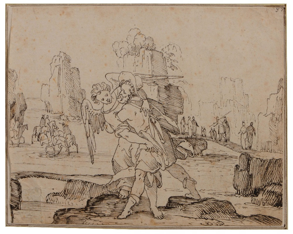 Lot 451 - ITALIAN SCHOOL (17TH/18TH CENTURY) Tobias and the Angel, pen and inks, numbered '57', 15 x 19cm (