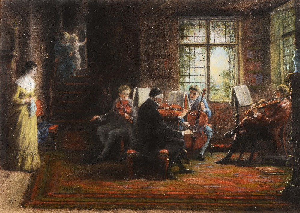 Lot 112 - FREDERICK DANIEL HARDY(1826-1911) The Family Quartet, signed and dated 1858, pastels 38 x 53.5cm
