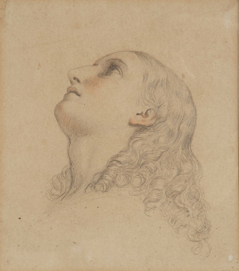 Lot 200 - MANNER OF GUIDO RENI Study of a female saint looking towards the heavens, pencil and sepia chalks,