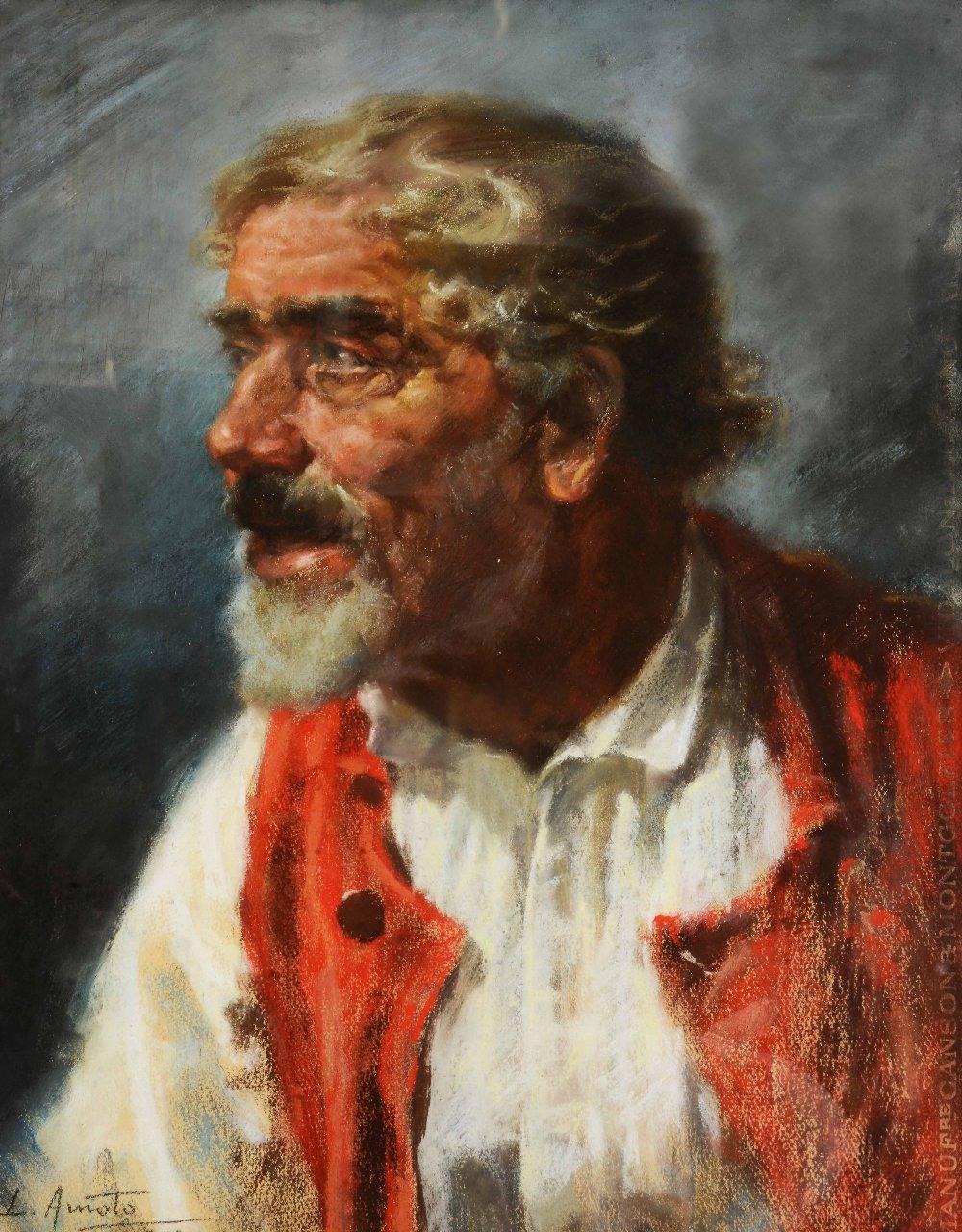 Lot 259 - LUIGI AMATO (1898-1961) Portrait of a gentleman wearing cream shirt and buttoned red waistcoat,