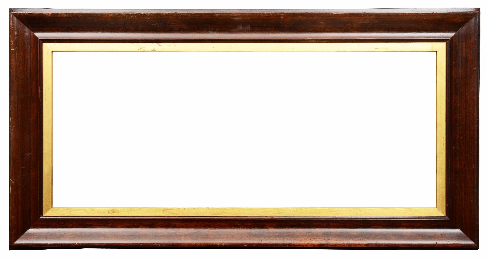 Lot 481 - A 19TH CENTURY ROSEWOOD FRAME with moulded and gilded inner slip, rebate size 45 x 61cm; and another