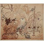 SHEILA HORTON (20TH CENTURY) 'Dorelia, Fred and the Plants', etching, pencil signed in the margin,