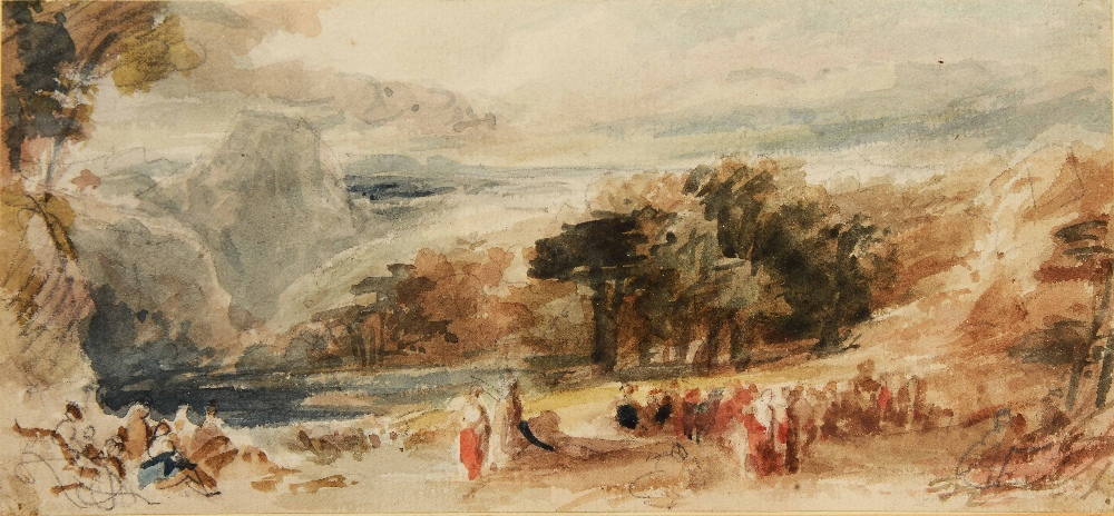 Lot 169 - ATTRIBUTED TO SIR DAVID WILKIE (1785-1841) Landscape in the Holy Land 1840/1, inscribed with title