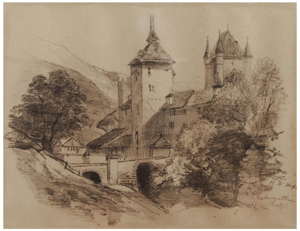 Lot 416 - FOLLOWER OF J.M.W. TURNER (1775-1851) Gateway at Thun, Switzerland, pencil drawing, 23 x 30.5cm