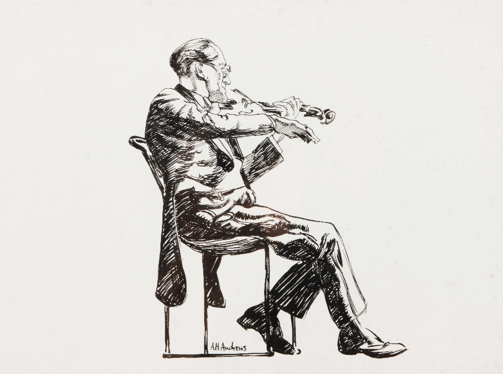 Lot 113 - ARTHUR HENRY ANDREWS (1906-1966) The Violinist, signed, pen and ink drawing, 18 x 24.5cm