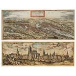 A 17TH CENTURY ENGRAVING - 'Praga, Bohemiae Metropolis ACCV Ratissime Expressa', hand-coloured, 19 x