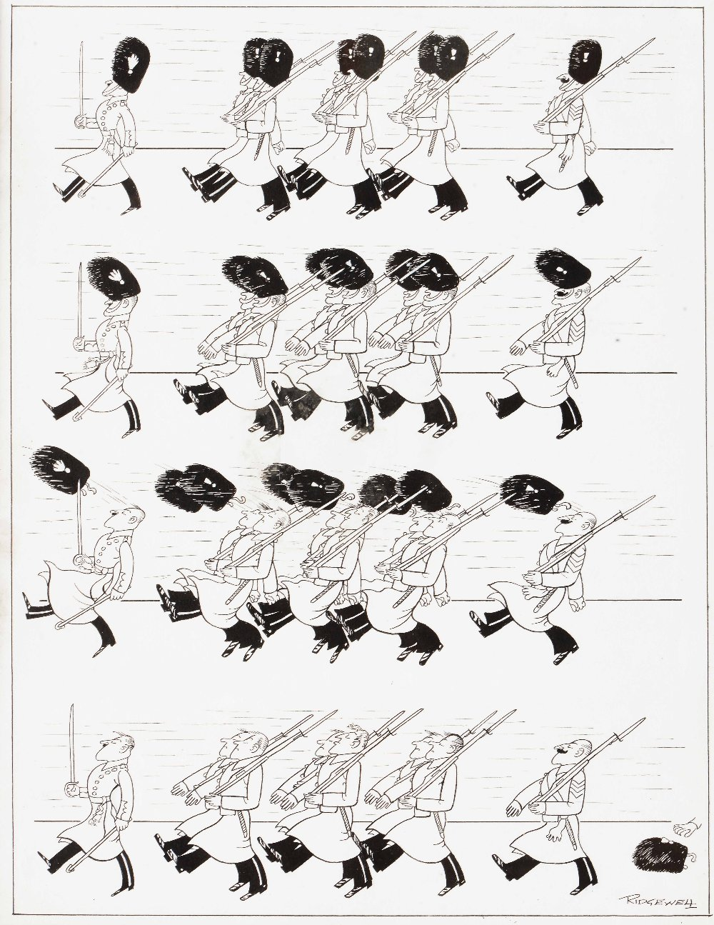 Lot 184 - WILLIAM RIDGEWELL (1881-1937) 'Discipline', signed and titled, original cartoon, pen and ink,