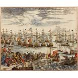 MATTHAUS MERIAN Gehet zu schiff in Engelland uber Zufahren, engraving, hand-coloured, 31 x 37cm