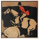 SIR WILLIAM NICHOLSON Fox Hunting - January, lithograph in colours, 19 x 19cm; a set of six cock