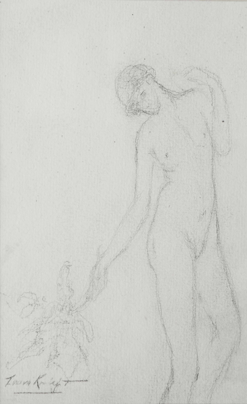 Lot 250 - CIRLE OF LAURA KNIGHT (1877-1970) A female classical dancer, bears signature, pencil drawing, 16.5 x