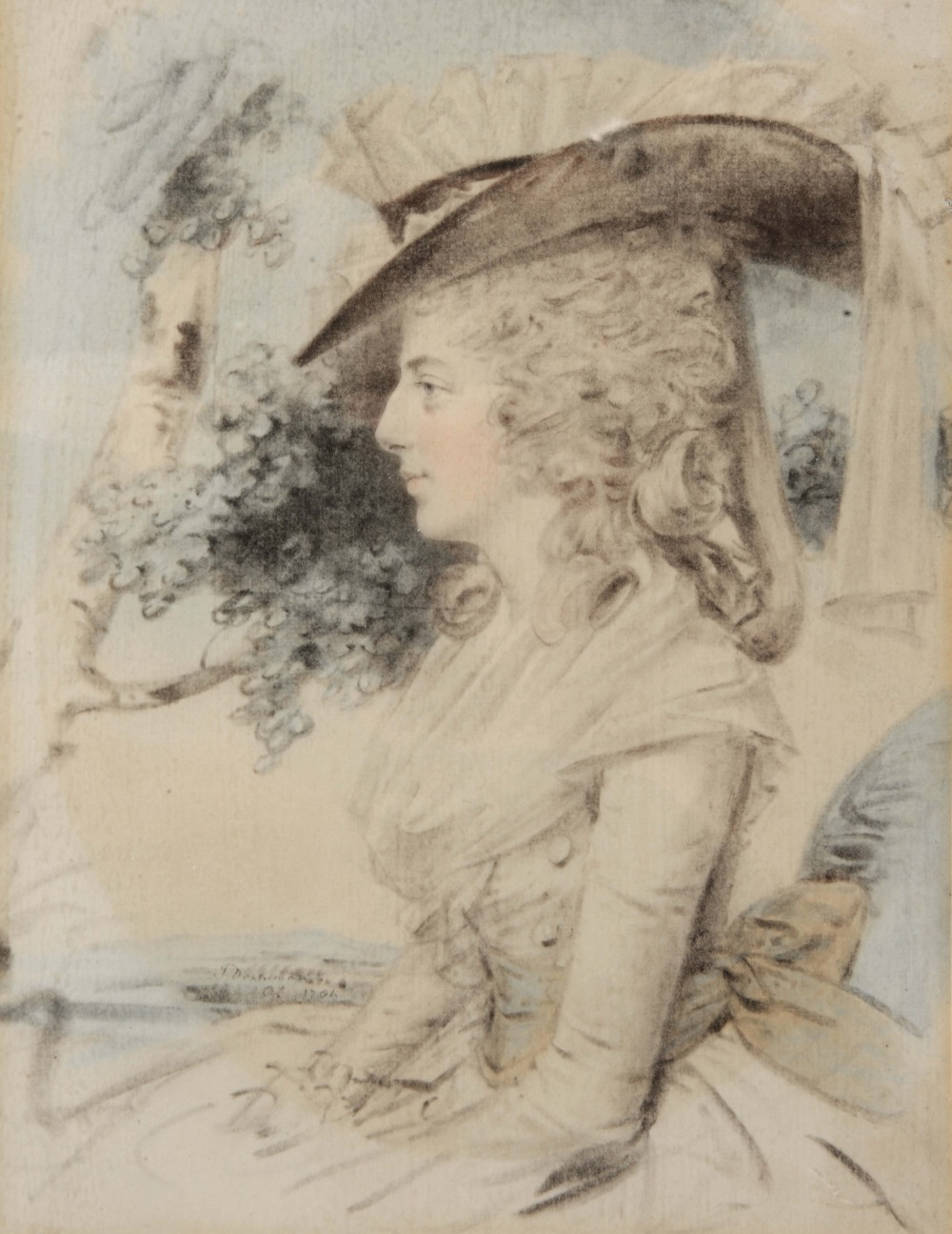 Lot 348 - JOHN DOWNMAN (1750-1824) Portrait of a lady, side profile, wearing a frilled bonnet and with