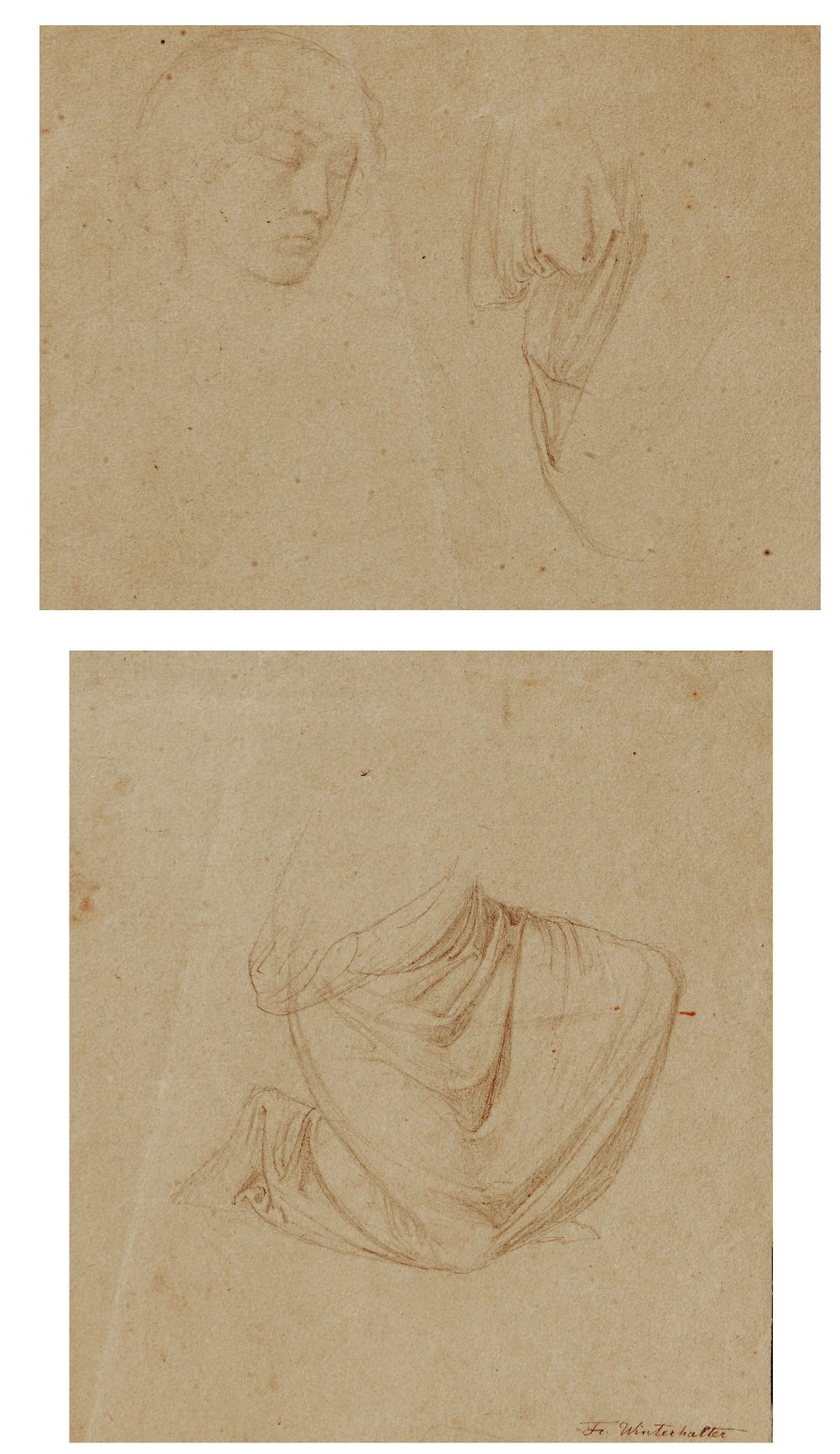 Lot 452 - ATTRIBUTED TO FRANZ XAVIER WINTERHALTER (1805-1873) Drapery study, signed, pencil drawing, 15 x 13.