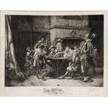 FELIX BRACQUEMOND AFTER JEAN LOUIS ERNEST MEISSONIER 'Partie Perdue', etching, pencil signed in