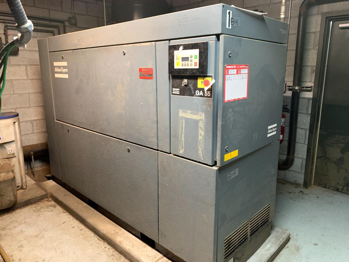 ATLAS COPCO GA 55, 75 HP AIR COMPRESSOR, WATER COOLED, S/N: A11456766, 600 VOLTS, W/ ATLAS COPCO