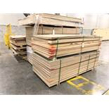 LOT OF ASSORTED PARTICLE BOARDS, MDF, PLYWOOD, ETC (+/- 18 BUNDLES(