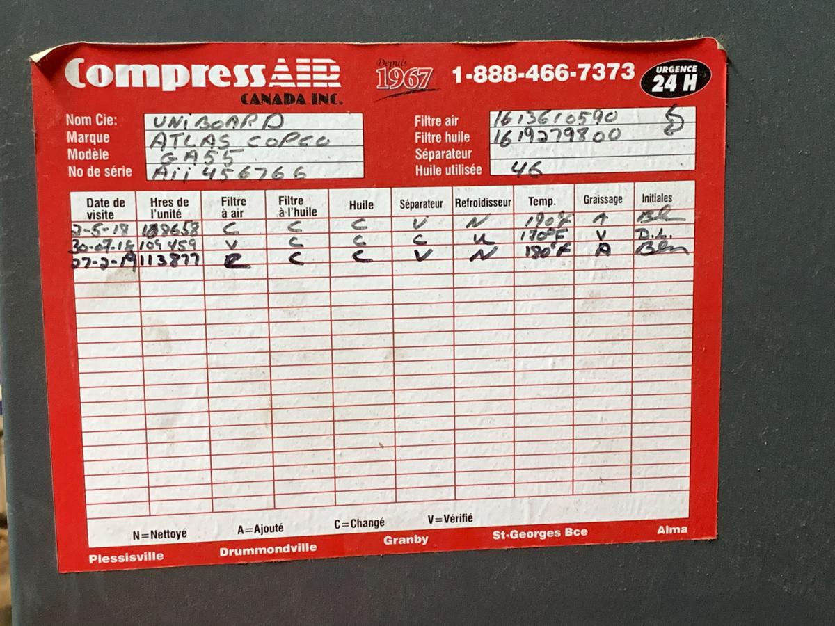 ATLAS COPCO GA 55, 75 HP AIR COMPRESSOR, WATER COOLED, S/N: A11456766, 600 VOLTS, W/ ATLAS COPCO - Image 2 of 6