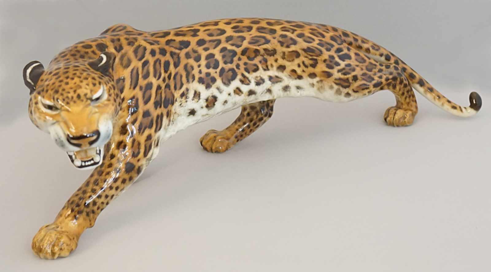 """1 Figur Porz. HUTSCHENREUTHER """"Fauchender Leopard""""Entw.: Gunther GRANGET (wohl 1932-2010)"""
