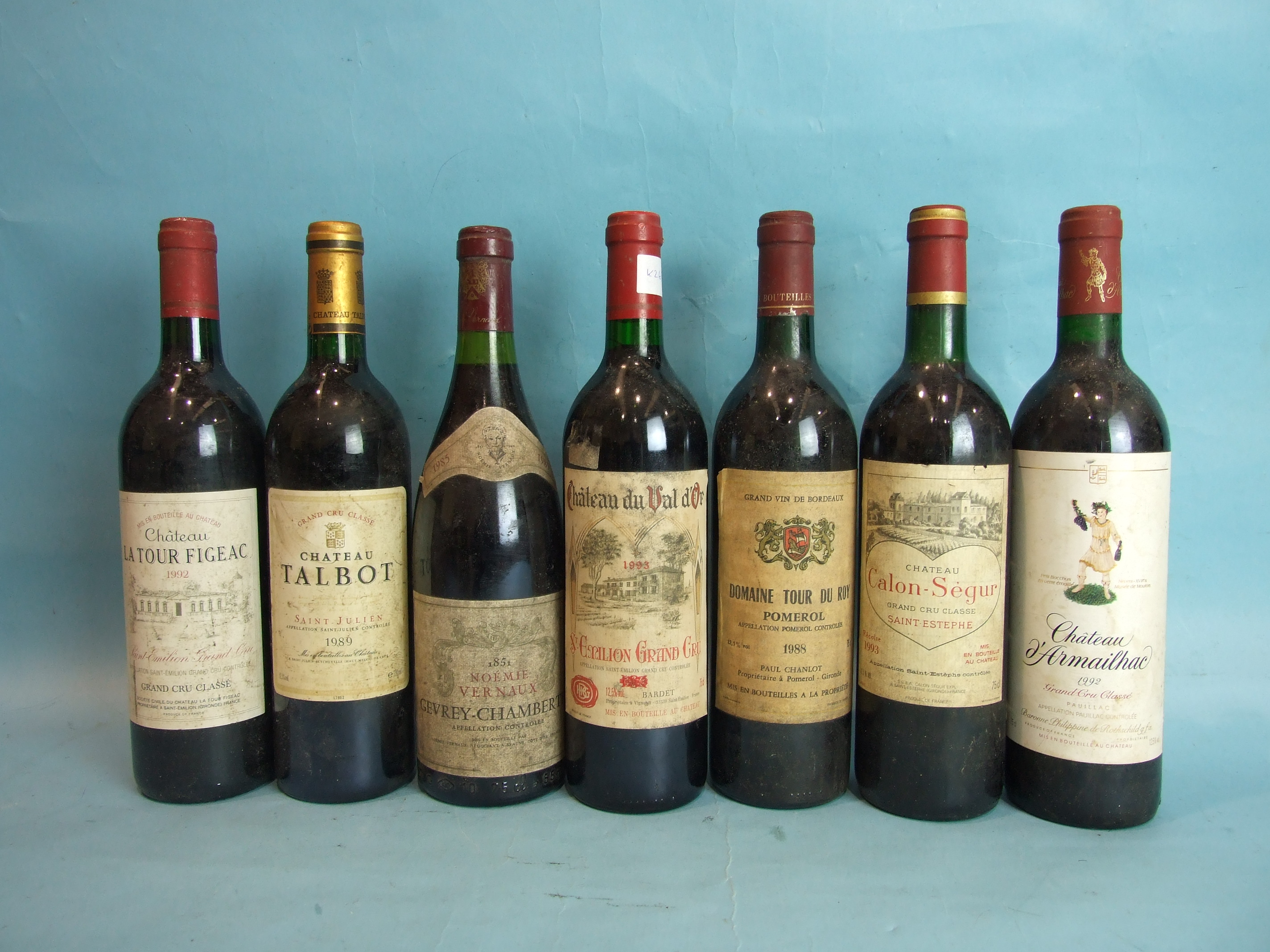 Lot 14 - Chateau Talbot 1989, one bottle and six other bottles, various, (7).