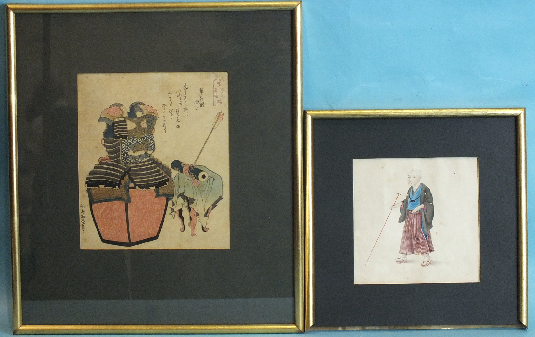 Lot 103 - A late-19th century Japanese watercolour study of a male figure carrying a long pole and wearing