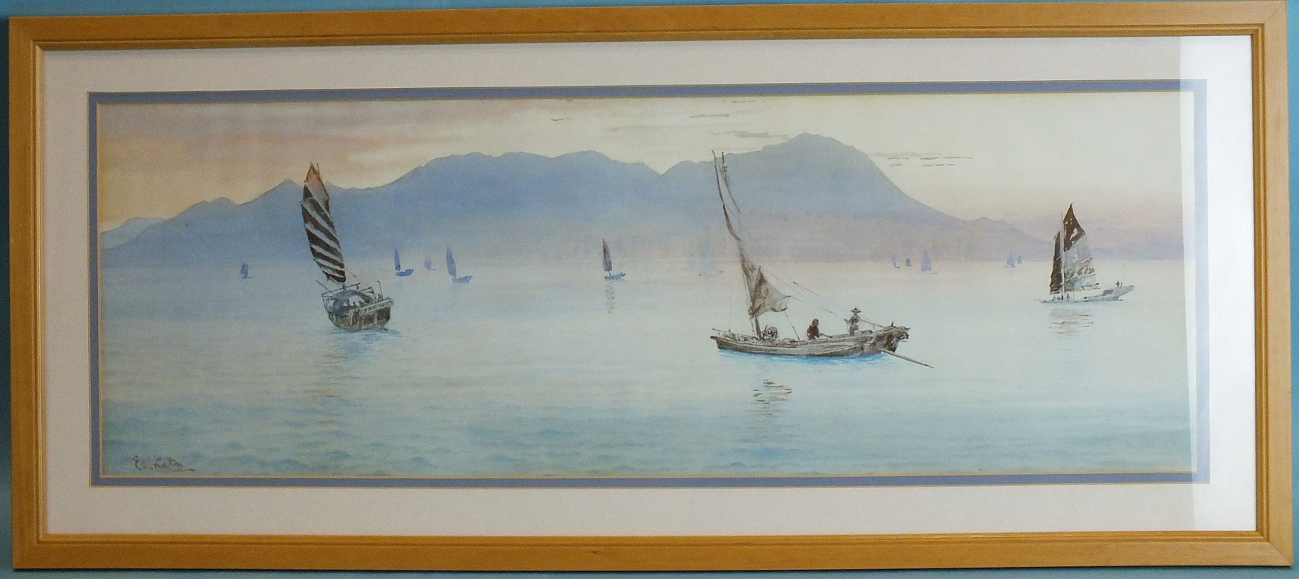 Lot 96 - •Elzo Koto (1906-1972) FISHING BOATS OFF A COASTLINE Signed watercolour, 22.5 x 64.5cm and a