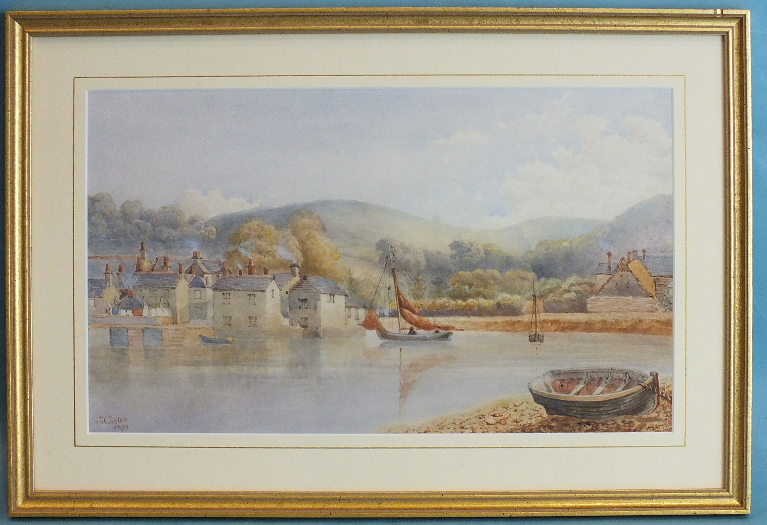 Lot 86 - J Cocks ROWING TO THE CASTLE LODGE, HOOE LAKE Watercolour, signed and dated 1891, 22.5 x 37cm,
