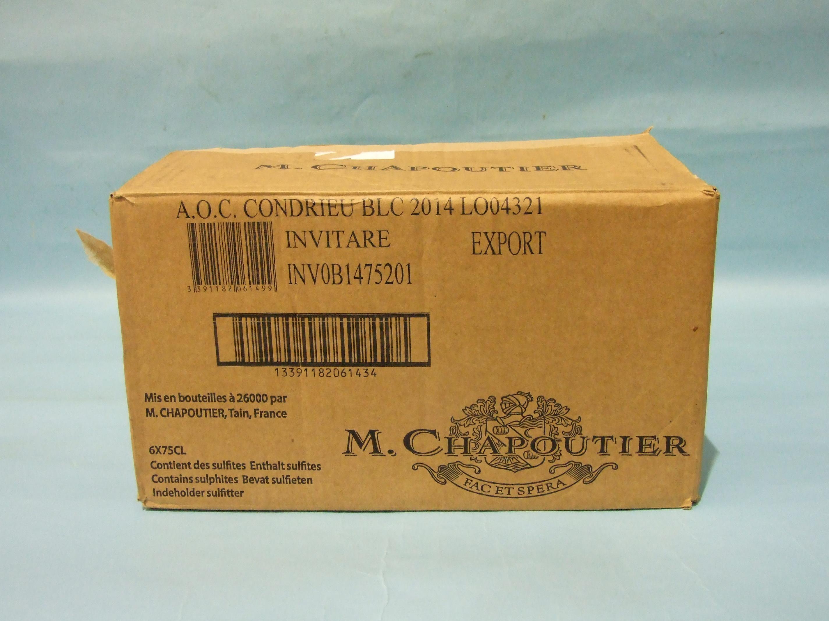 Lot 29 - Condrieu Chapoutier 2014, six bottles, (6).
