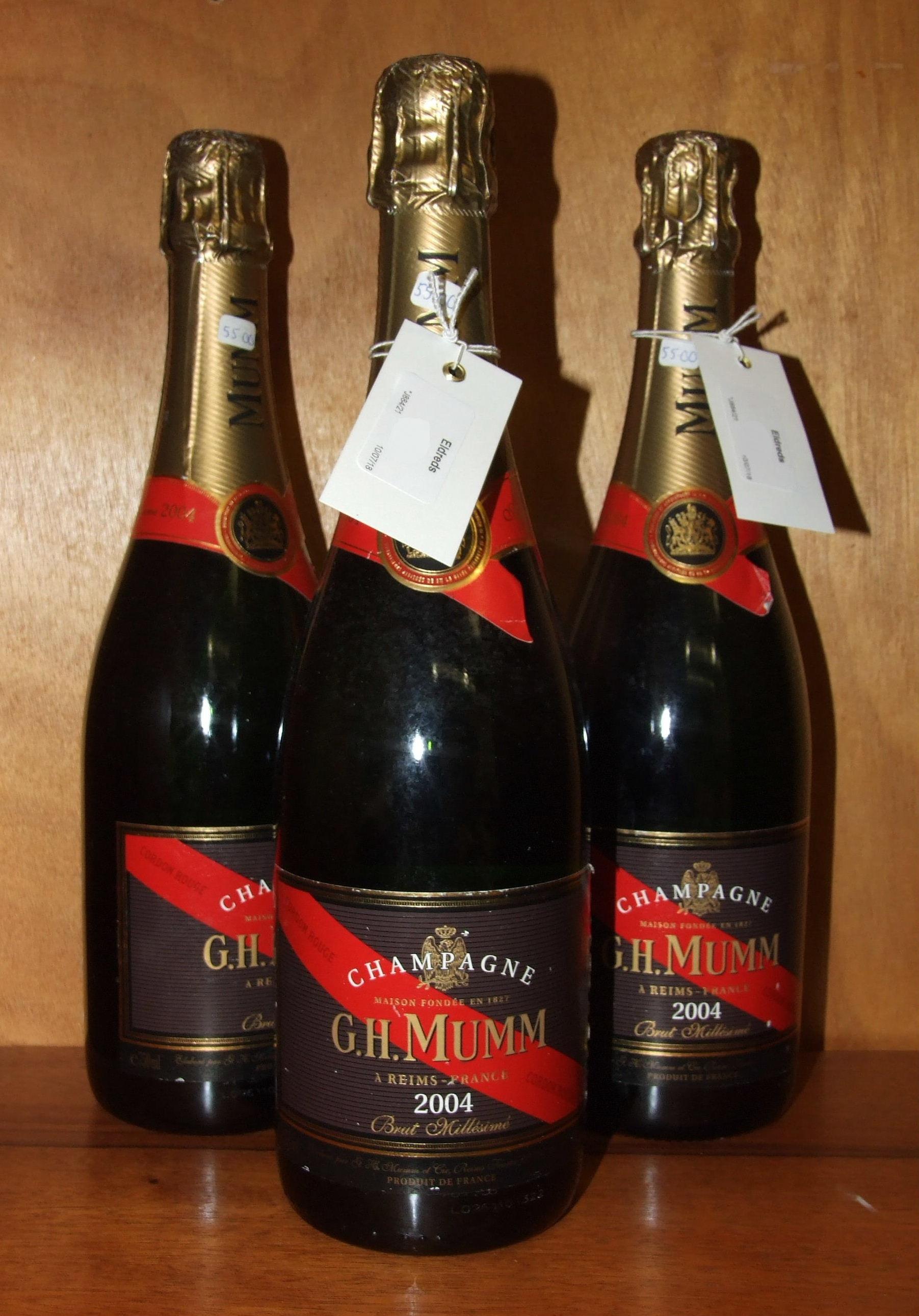 Lot 8 - Mumm, 2004 Vintage, 3 bottles.