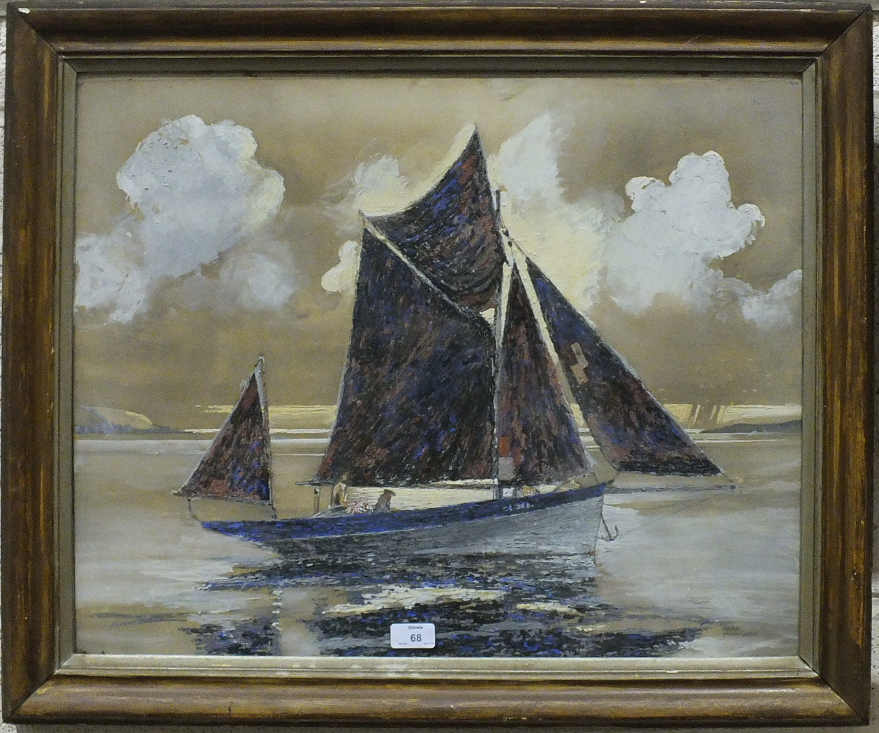 Lot 68 - •Harold Markwick (20th century) GUERNSEY CRABBER Signed acrylic on paper, 52 x 63cm.