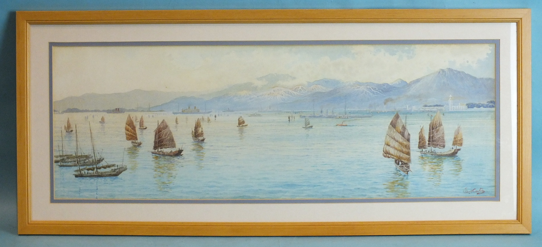Lot 95 - •Elzo Koto (1906-1972) A BUSY HARBOUR WITH NUMEROUS JUNKS AND STEAM VESSELS IN BACKGROUND Signed