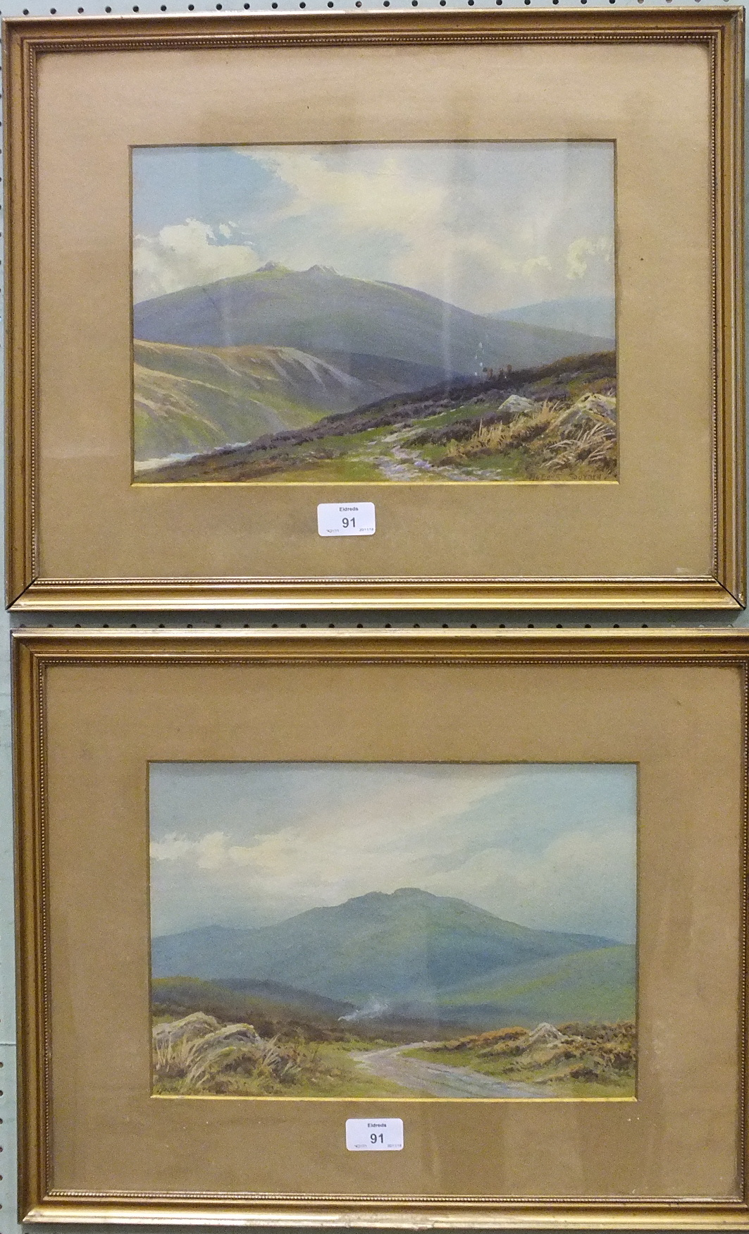 Lot 91 - Rubens Southey (1881-1933) NEAR SADDLE TOR, DARTMOOR Signed watercolour heightened with white, 22.