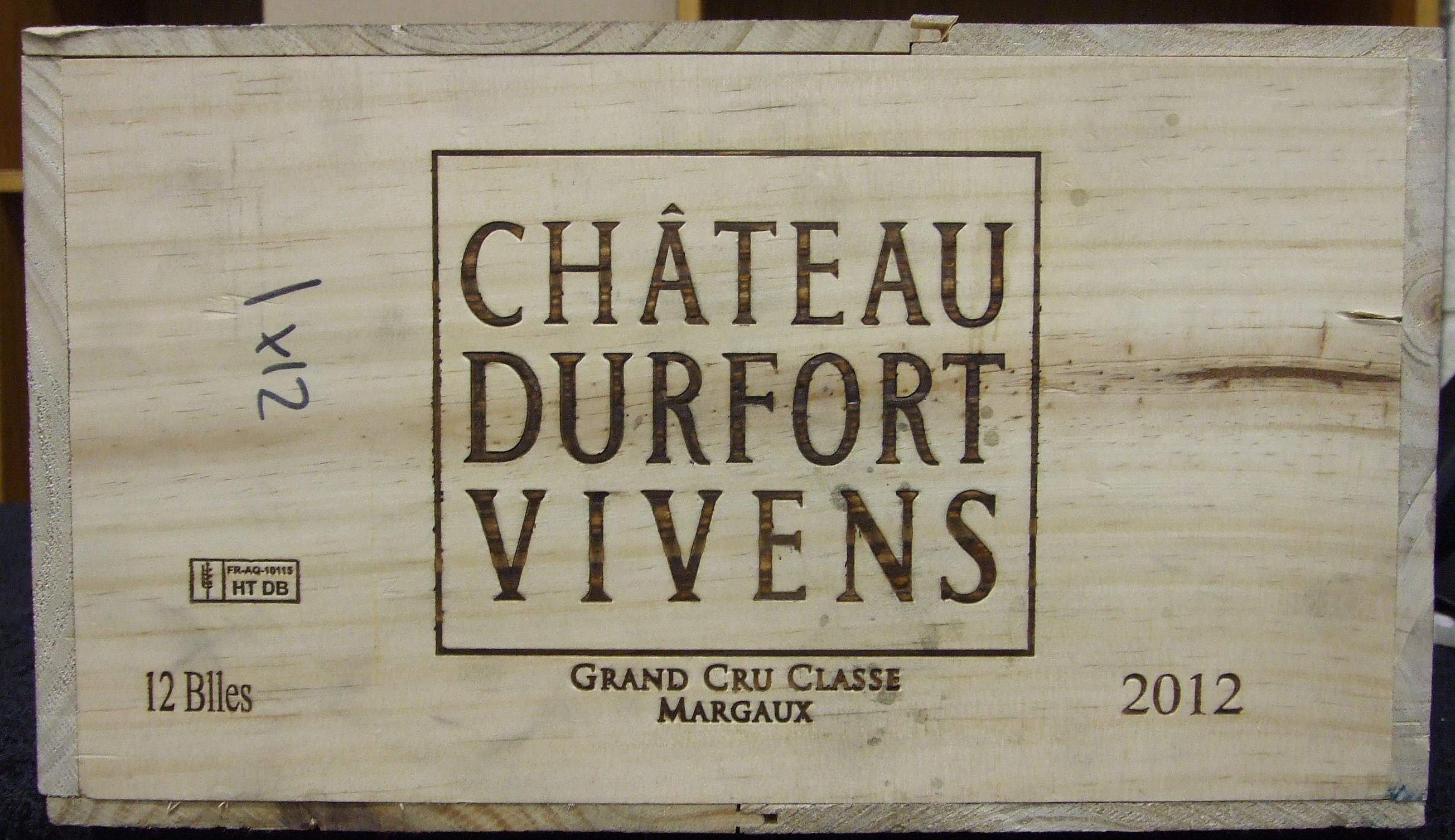 Lot 22 - Chateau Durfort Vivens Margaux 2012, twelve bottles, (12).