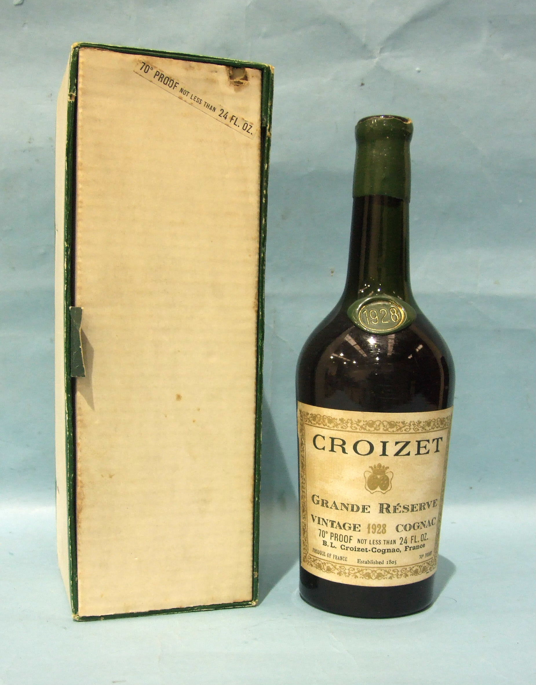 Lot 47 - Croizet Grande Reserve Vintage 1928 Cognac, wax capsule damaged, neck seal date intact, level high