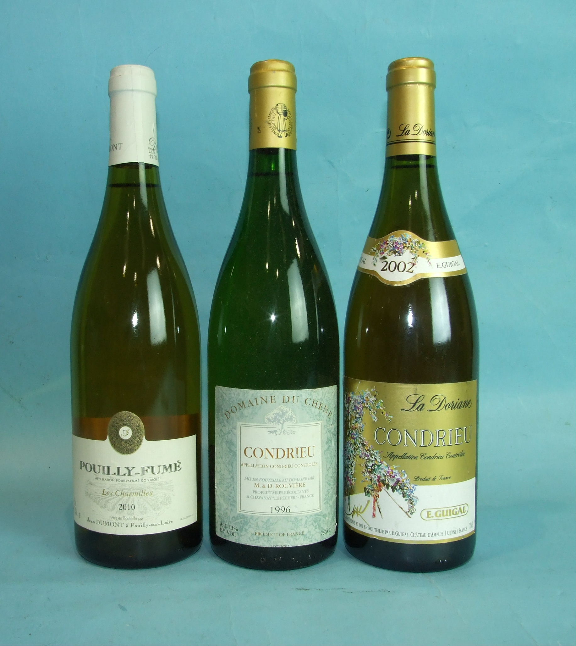 Lot 39 - La Domaine Condrieu 2002 E Guigal, one bottle and two other bottles of white wine, (3).