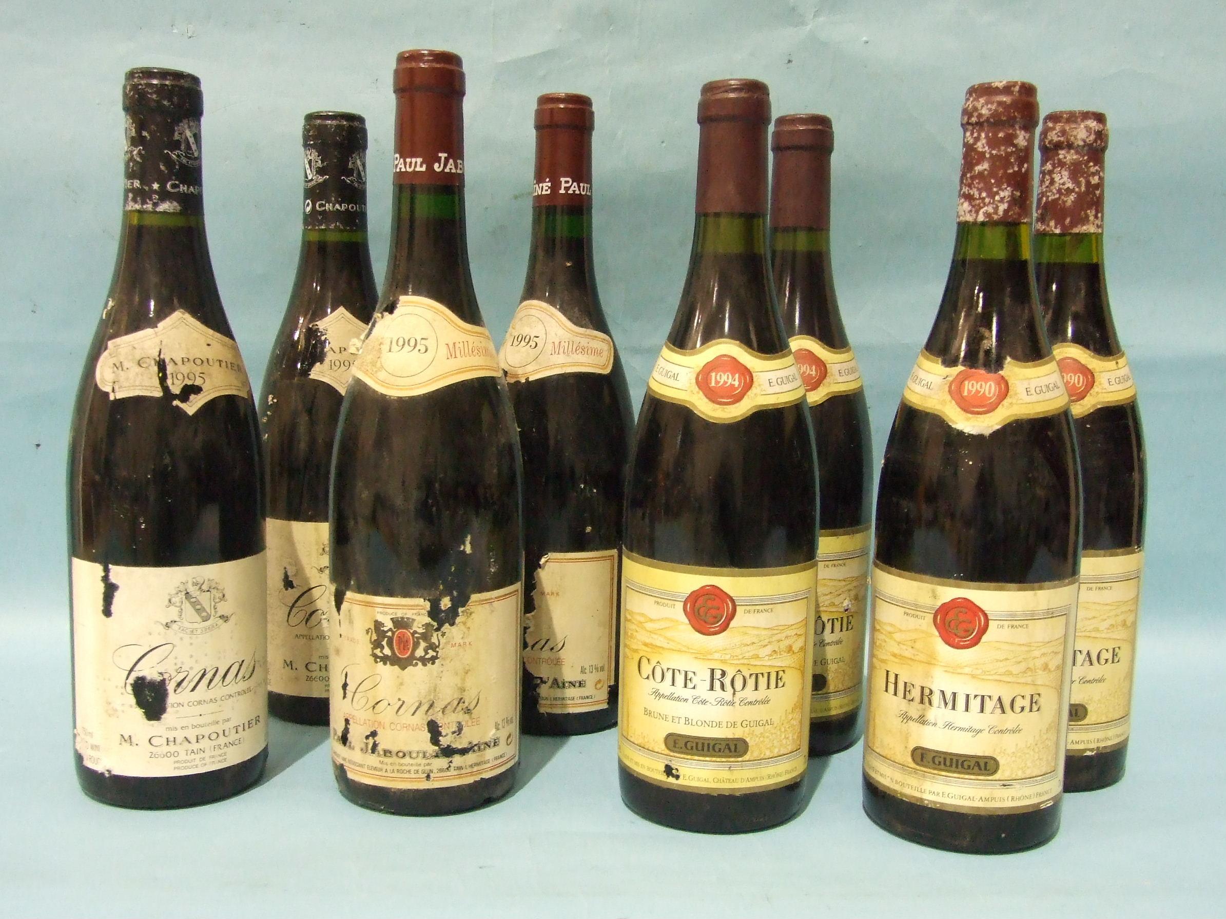 Lot 26 - Cornas Chapoutier 1995, two bottles, Côte Rotie Guigal 1994, two bottles, Cornas Jaboulet 1995,