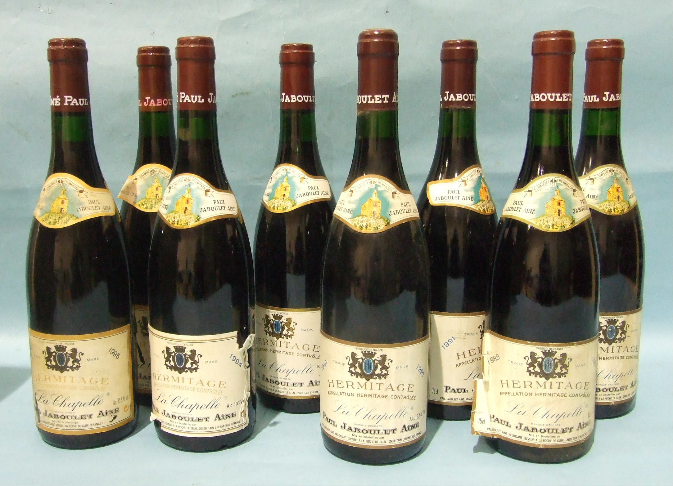 Lot 28 - Hermitage Jaboulet 1988, two bottles, also 1991 (2), 1994 (2), 1995 (2), (8).