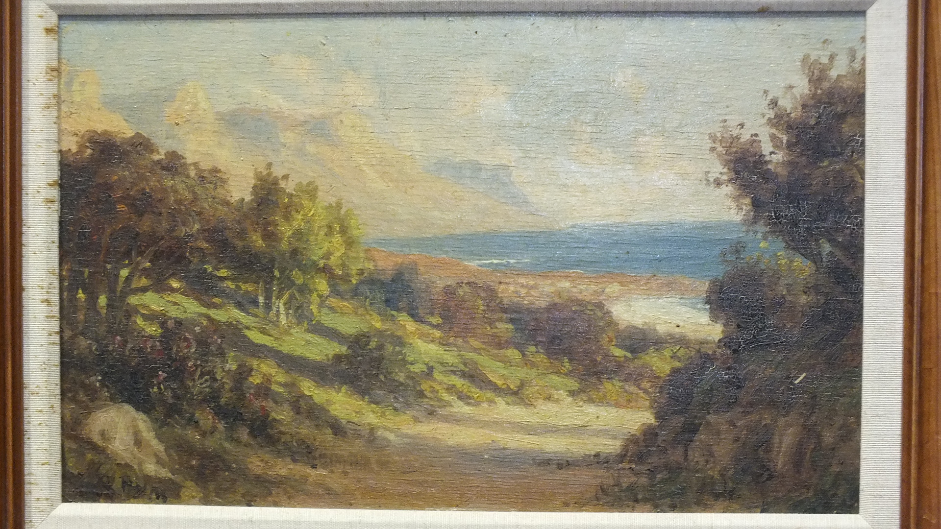 Lot 67 - •Roland Pym (1920-2006) COASTAL VIEW, SOUTH AFRICA Signed oil on board, 20.5 x 37cm and a companion,