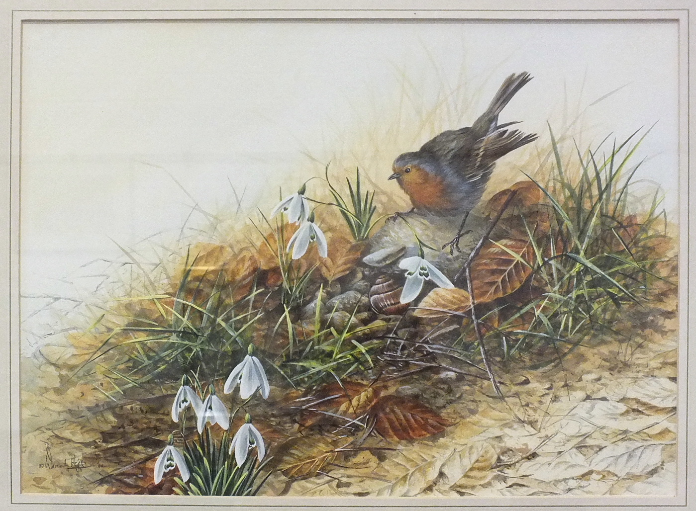 Lot 99 - •Warwick Higgs (British, b.1956) GARDENING - ROBIN Signed gouache, dated '88, 36 x 49.5cm.