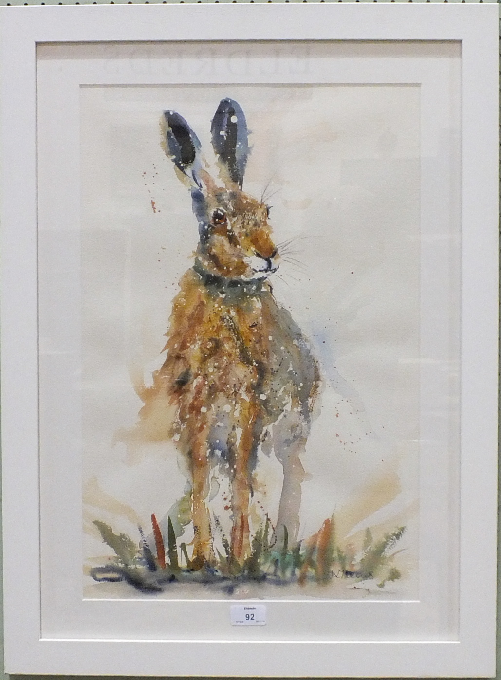 Lot 92 - •Karen Thomas SCRUFFY HARE Signed watercolour, 55 x 36cm, (modern artist's label verso).