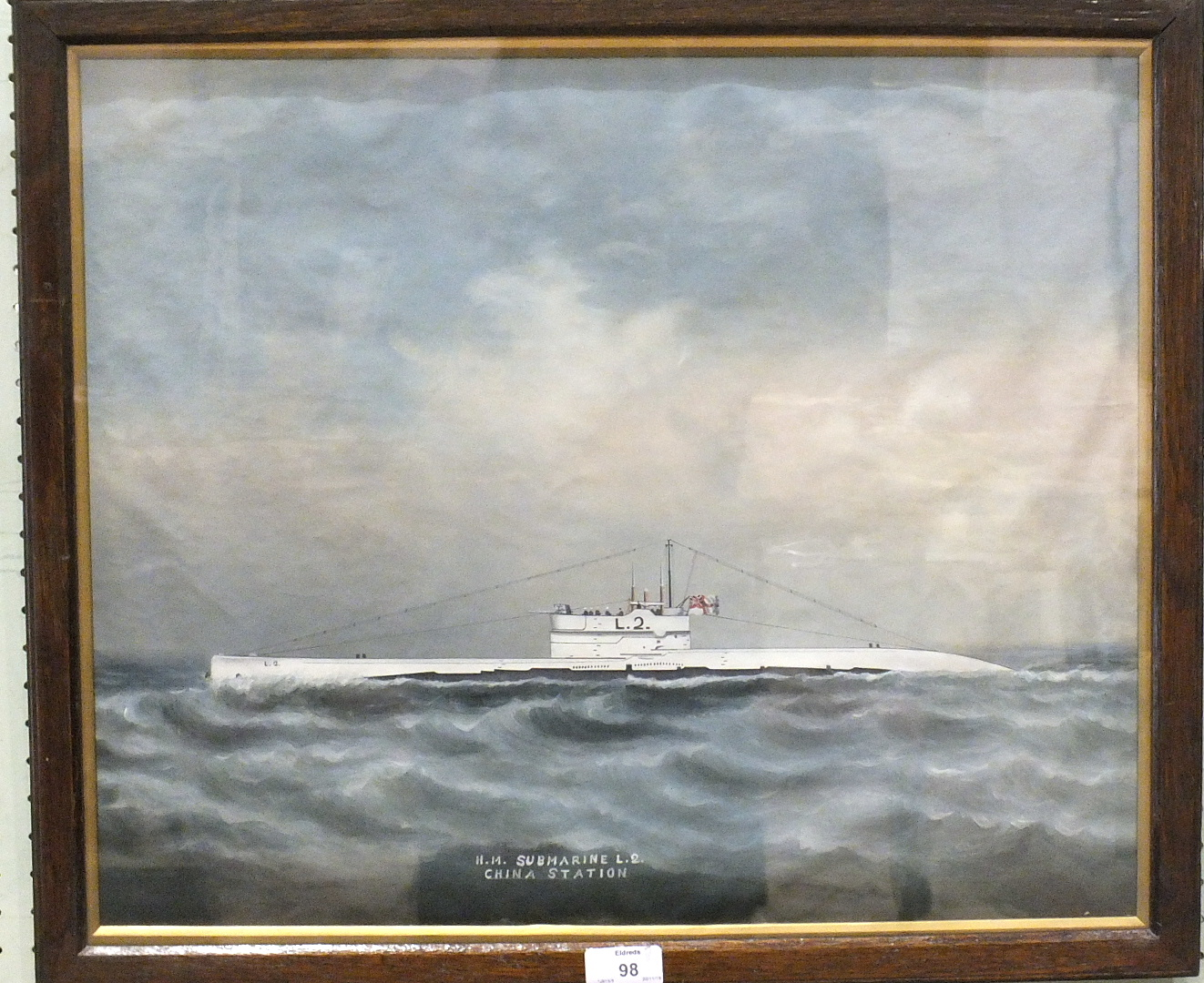 Lot 98 - British, early-20th century H M SUBMARINE L2, CHINA STATION Unsigned gouache, 42.5 x 52cm.