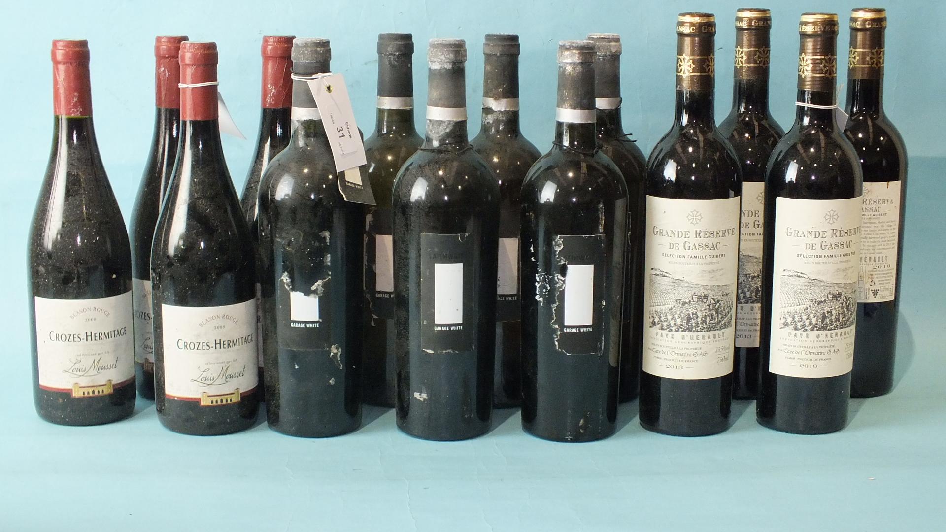 Lot 31 - Crozes - Hermitage Mousset 2008, 4 bottles, Garage white, vin de table, 6 bottles and Reserve de