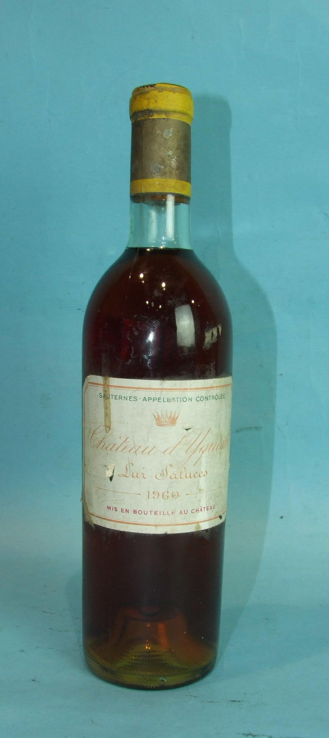 Lot 41 - Chateau d'Yquem Sur Saluces Sauternes 1960, one bottle, (low neck, label soils and small tears).