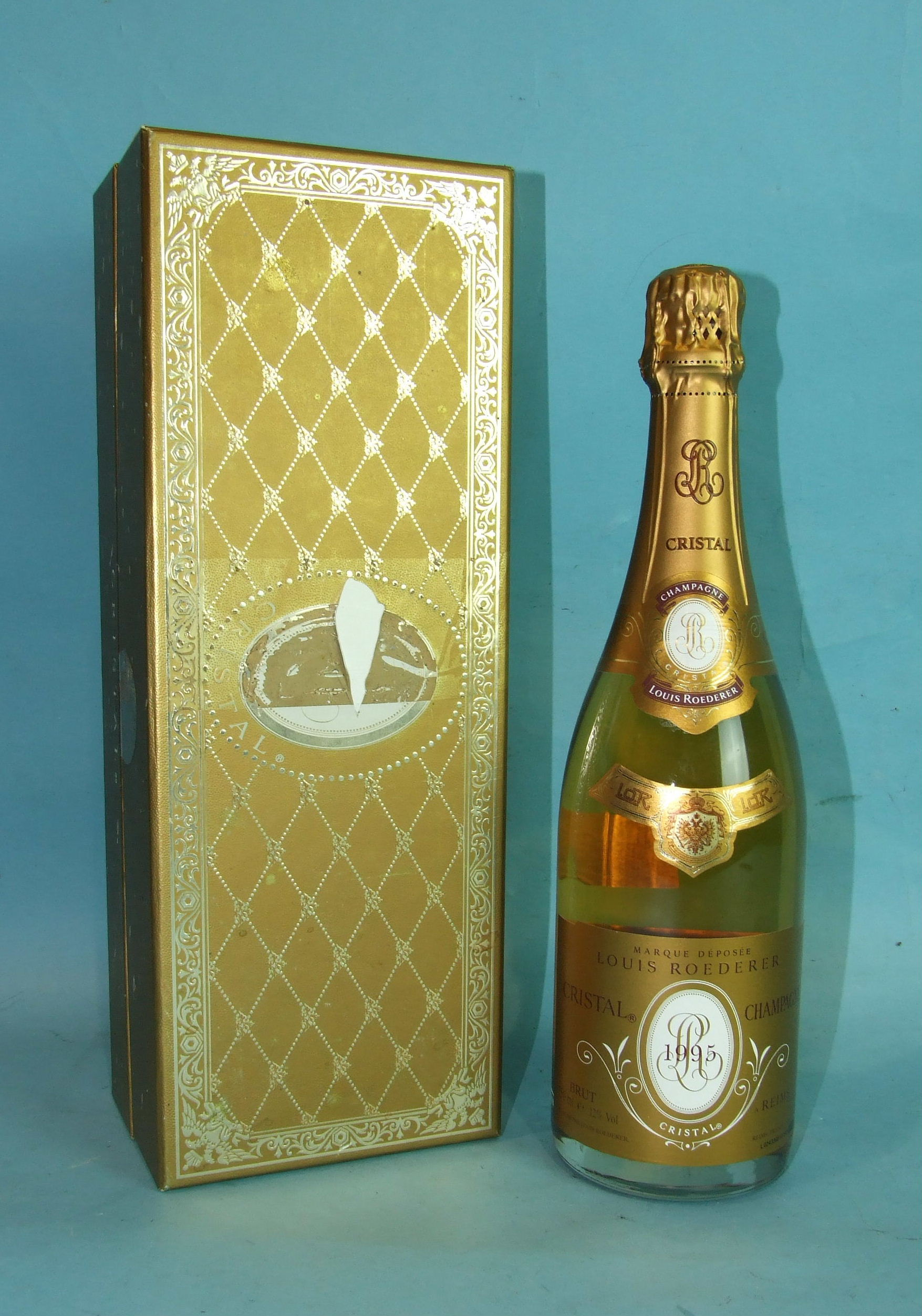 Lot 9 - Louis Roederer Cristal Champagne 1995, 750ml, 12%, in cardboard box.