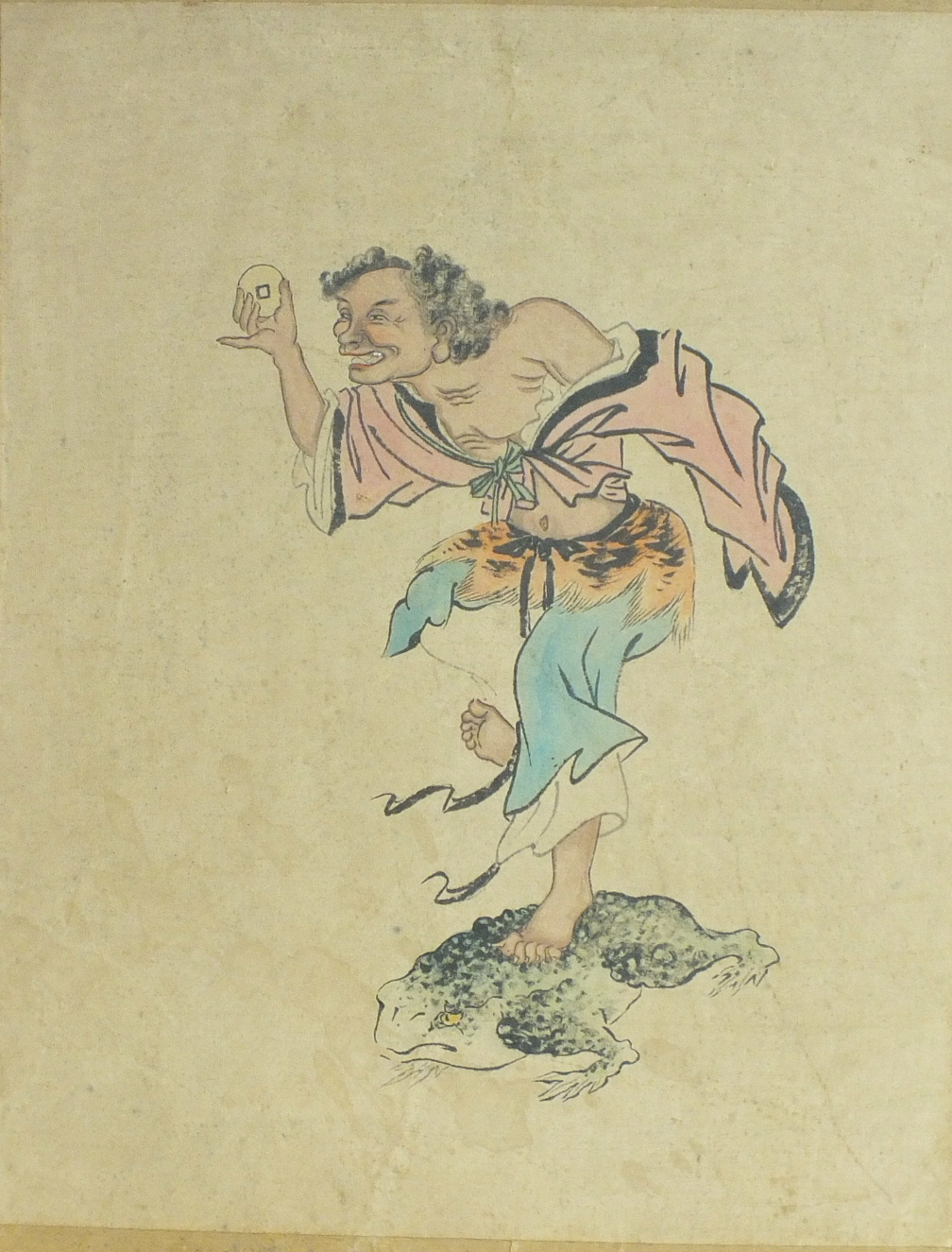 Lot 106 - An early-20th century Japanese unframed coloured print of a man holding a coin, standing on a
