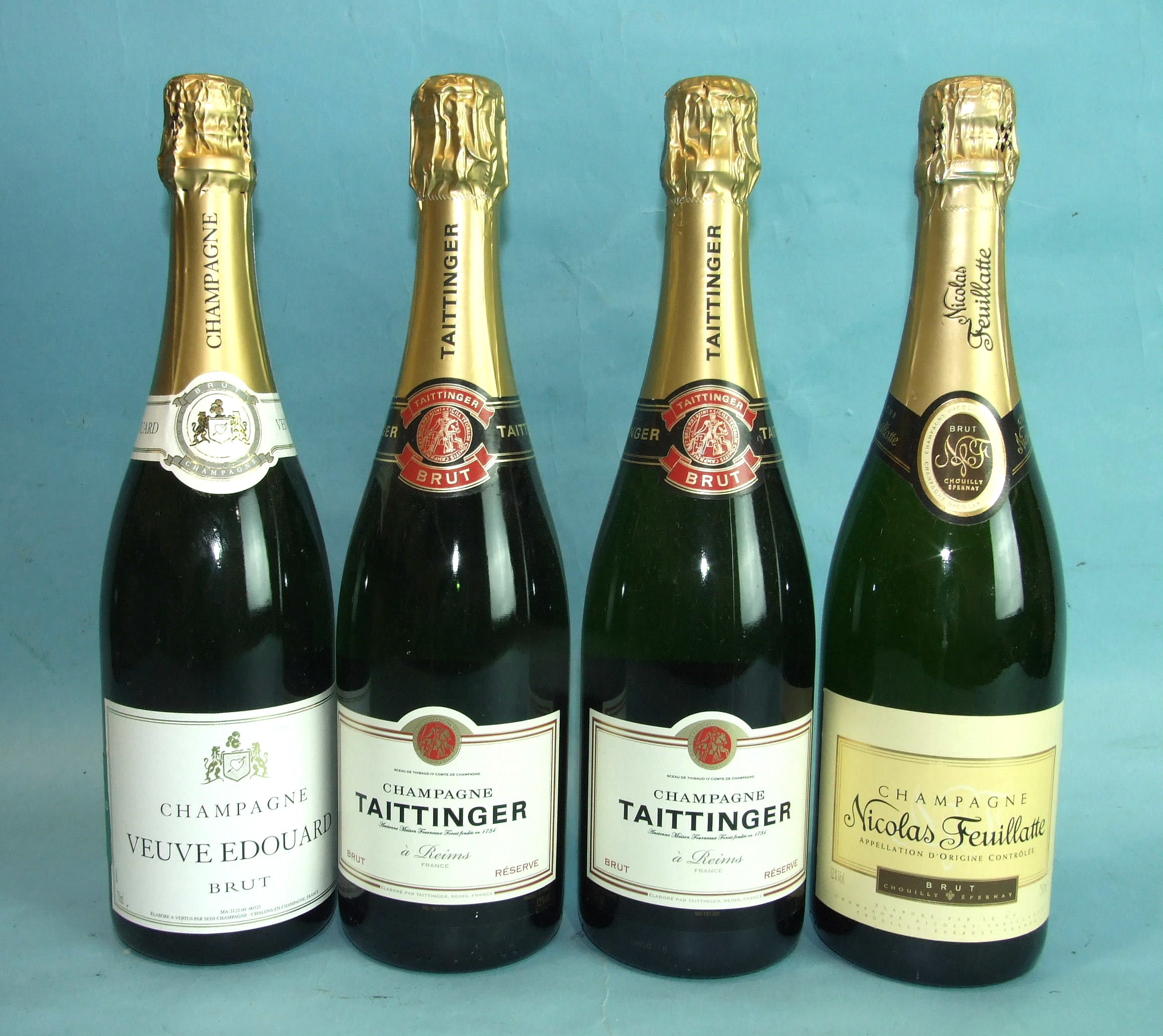 Lot 5 - Tattinger Brut Champagne, two bottles, Nicolas Feuillatte Brut Champagne, one bottle and Veuve
