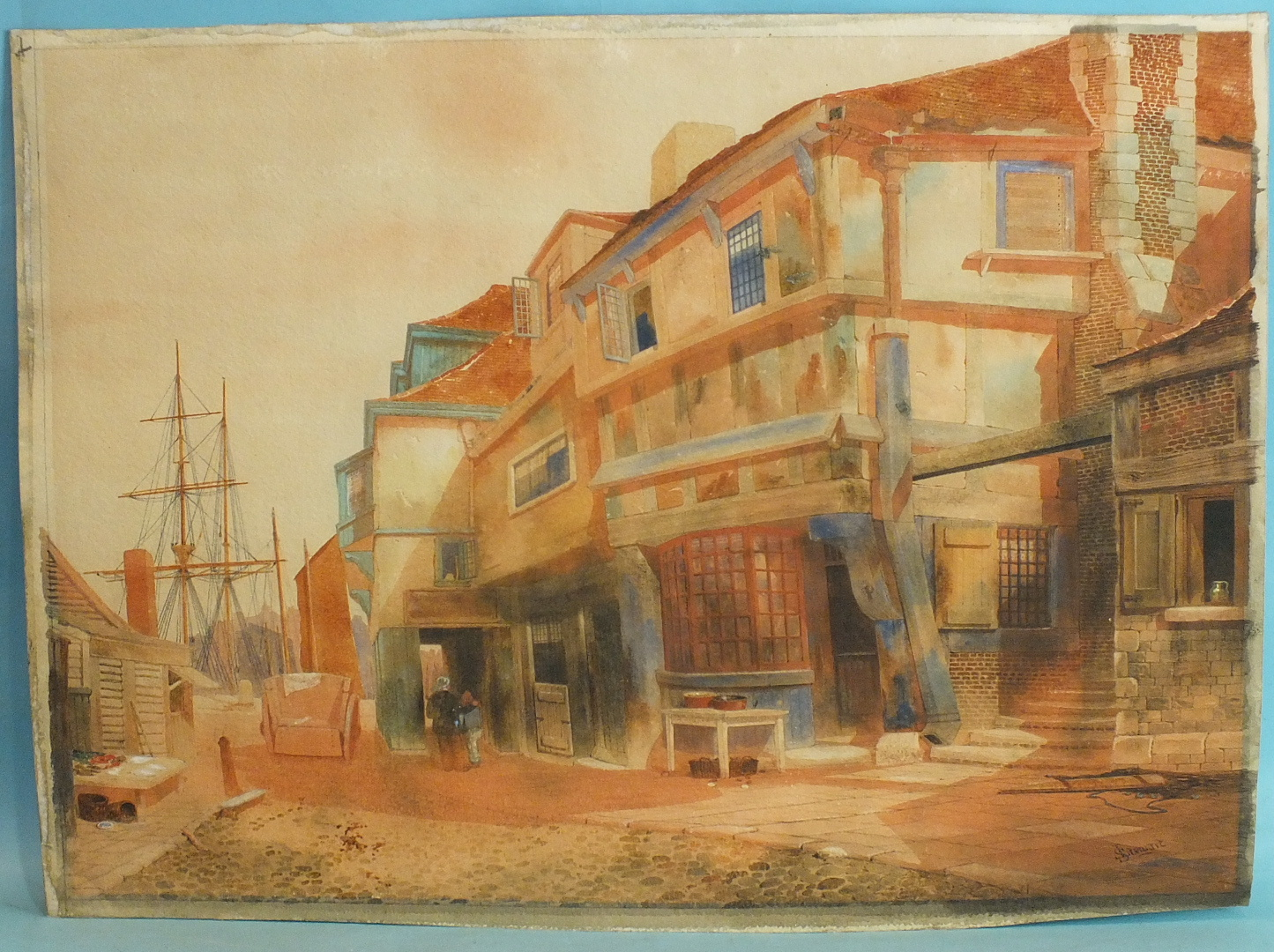 Lot 90 - J Stewart OLD BUILDINGS, PLYMOUTH Signed, unframed watercolour, titled label verso, 50 x 68cm.