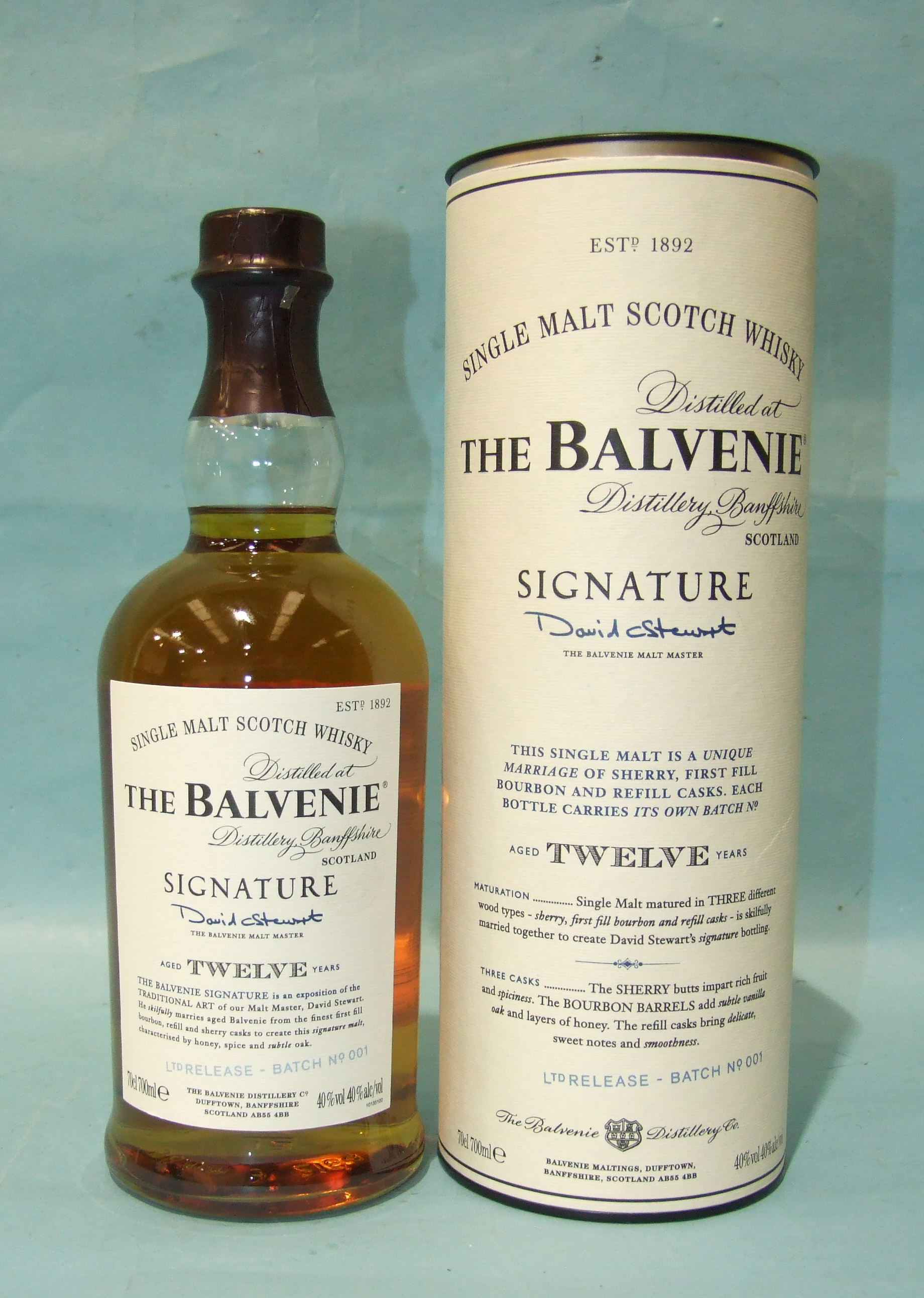 Lot 43 - The Balvenie 12-year-old Signature Batch no.001 single malt whisky, in tube.