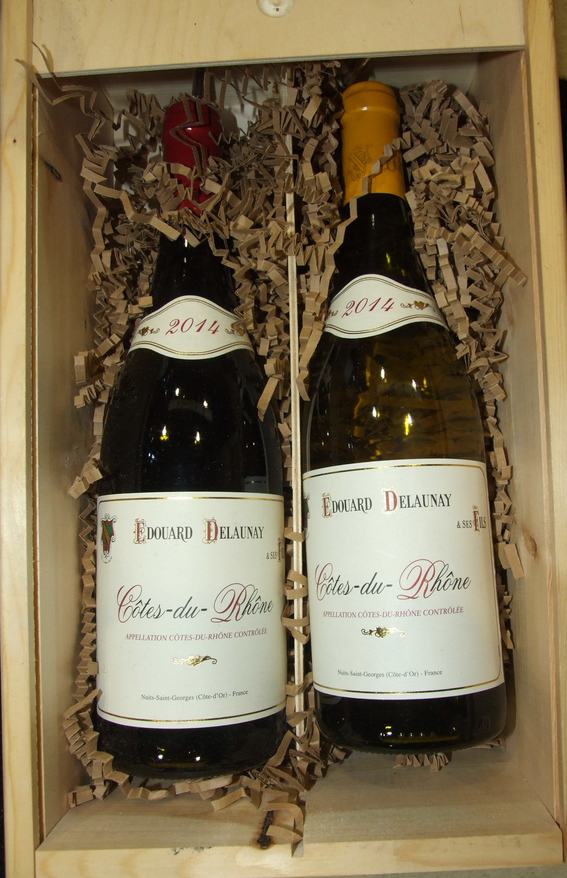 Lot 38 - Edouard Delaunay Côtes Du Rhône 2014, one bottle red, one bottle white, in box and six other